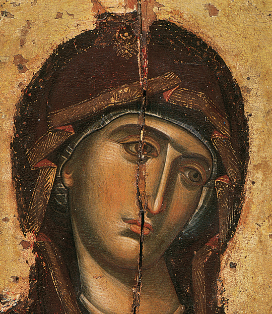 Panagia Odigitria. Portable icon of Monastery Vatopaidi. Detail. 14th c.