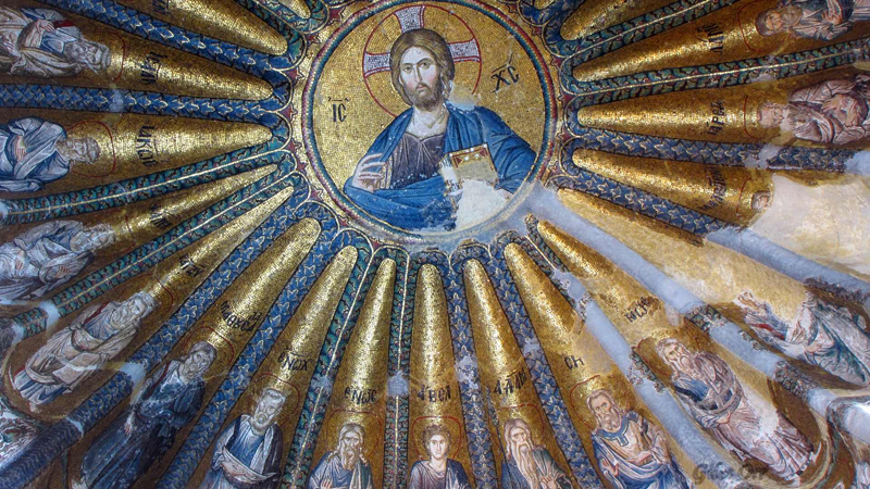 Christ Pantokrator. Mosaic medallion in the South Church of the Chora Monastery