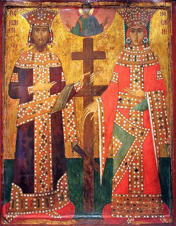 Constantin si Elena, icoana bizantina, 1478, Nationalmuseum, Nurenberg in