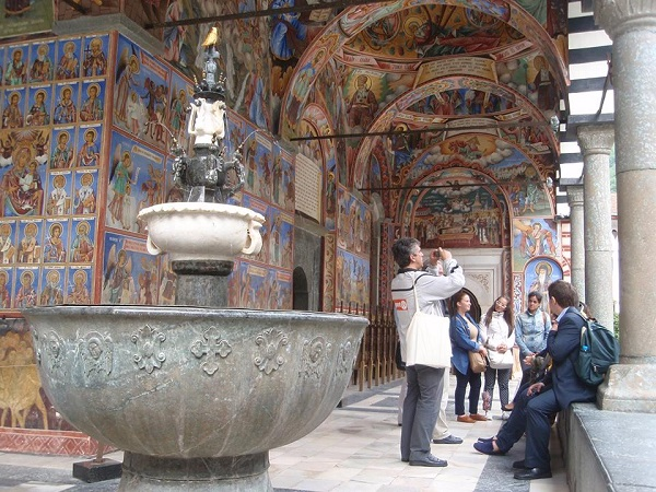 The fountain in the courtyard of the Main Church at Rila