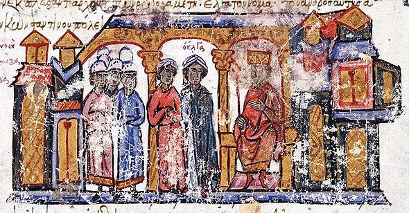 Olga intalnindu-l pe Imp Constantin VII, manuscris bizantin, s12 IN