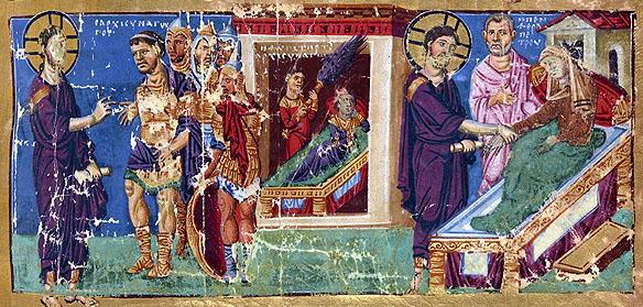 Vindecarea-slugii-sutasului-ilustratie-manuscris-bizantin-Bibl-Nat-de-France-MS-Gr-510-anii-879-882-IN-2