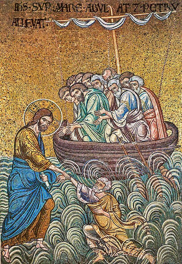 Umblarea pe mare, mozaic sec. 12, monreale, sicilia