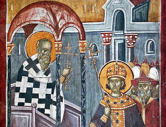 Inaltarea Sfintei Cruci, fresca Gracanita s14 IN