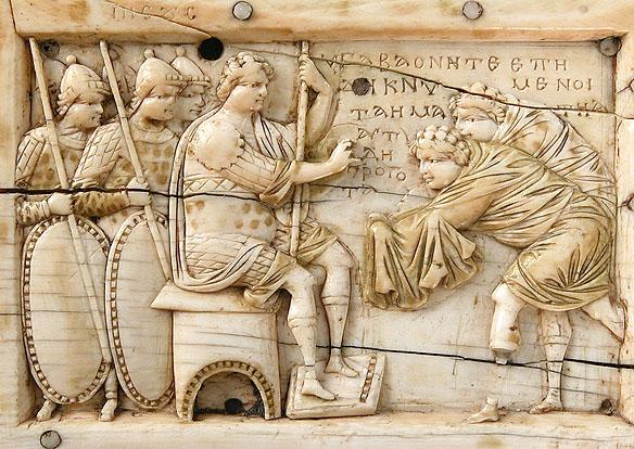 Joshua receives ambassadors Gavaon - Ios 9, sculptura bizantina s10 IN
