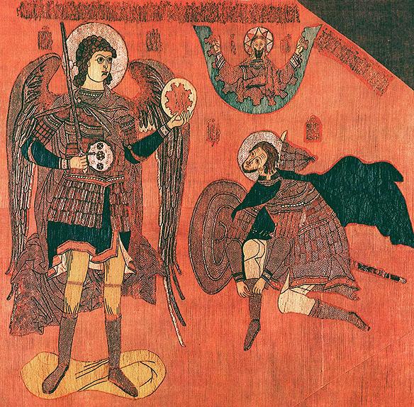 Joshua si ingerul, Ios 5, 13-15, tapiserie ruseasca, s17 IN