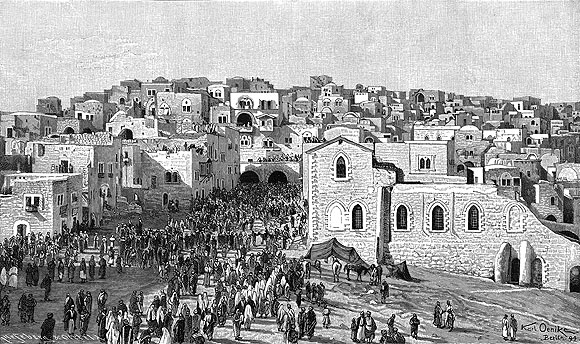 Karl_Oenike,_Einzug_der_Pilger_in_Bethlehem_(1894) IN