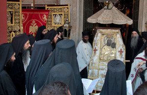 The procession with the icon of Theotokos for the feast of Prophet Elijah, Vatopedi – 2015