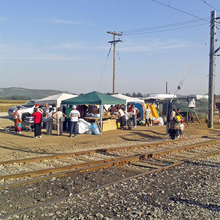 Makeshift volunteer facilities for first aid supplies for the refugees