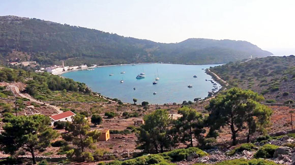 Wide shot Bay of Panormitis